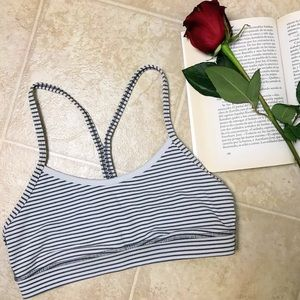 Lululemon Flow Y Sports Bra White Gray Stripes